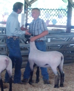 My godson Zachary and his market lamb with the judge.