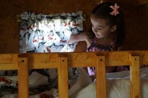 Ellie in the loft.
