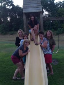 My High School BFF's - top: Missy; Left of slide: Heidi, Lisa and myself; Right of slide: Pam and Rita. Missing: Monica.