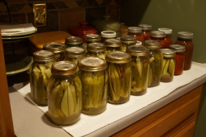 Some of the pickles and spaghetti sauce.