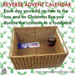 reverse advent calendar