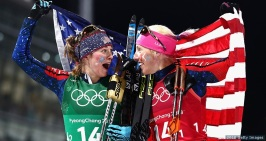 PYEONGCHANG-GUN, SOUTH KOREA - FEBRUARY 21: Jessica Diggins of the United States (L) and Kikkan Randall of the United States celebrate as they win gold during the Cross Country Ladies' Team Sprint Free Final on day 12 of the PyeongChang 2018 Winter Olympic Games at Alpensia Cross-Country Centre on February 21, 2018 in Pyeongchang-gun, South Korea. (Photo by Lars Baron/Getty Images)