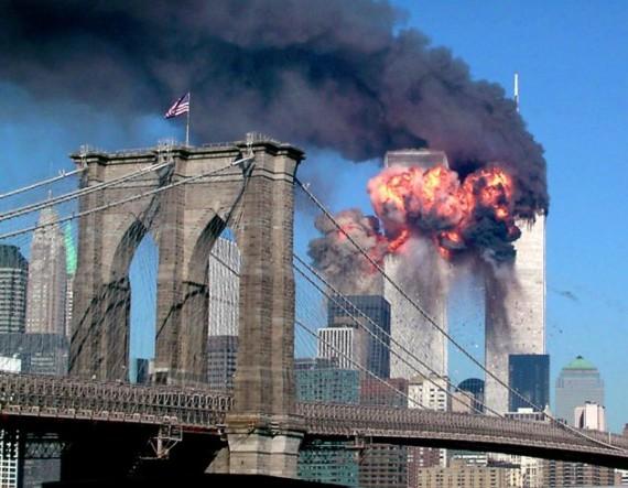 both towers burning