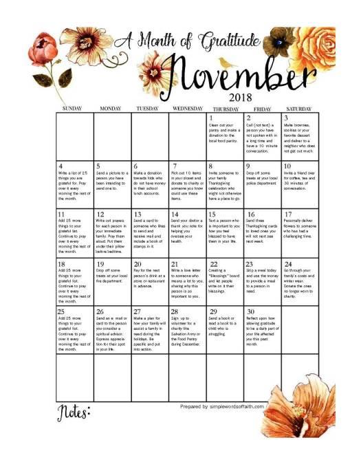Nov. 2018 Month of Gratitude